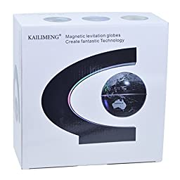 KAILIMENG C Shape Magnetic Levitation Floating 3 Inches Globe World Map with LED Light