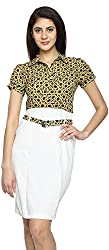 Texco Garments Women's A-Line Dress (22, Yellow and White, S)