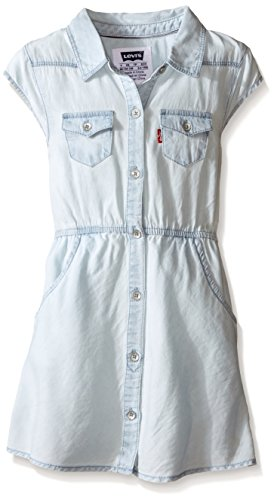 Levi's Little Girls Levis Open Road Short Sleeve Woven Denim Dress, Ultra Light, 6