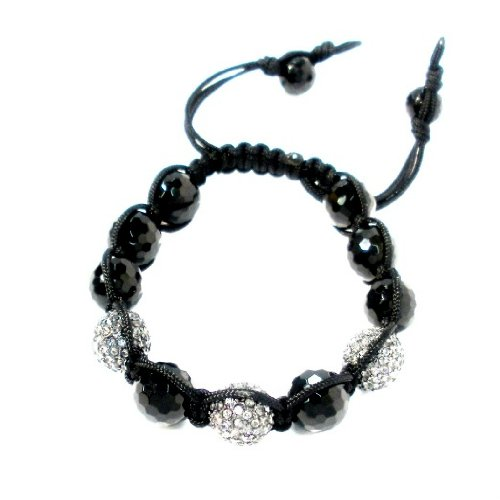 Shamballa Bracelet 12mm Faceted Black Onyx with Three 12mm Gunmetal Black Diamond Crystal Pave Adjustable to Fit Everyone Handmade