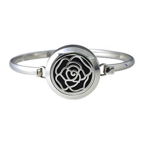NovScent EO Aromatherapy Bracelet 316L Steel Material with Felt Pads (Rose)