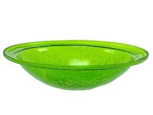 Achla CGB-05FG Crackle Glass Birdbath Bowl, Fern Green (Discontinued by Manufacturer)