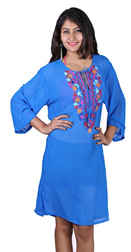 SUNROSE Sheer Chiffon Chain Stitched Embroidered Kutra Cover up Tunic Top
