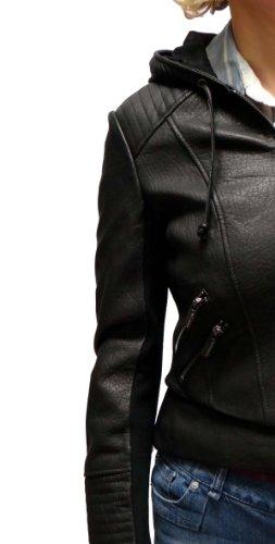 BCBGMAXAZRIA Women's Hooded Leather Jacket-Black-XS