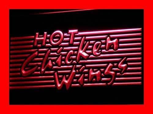Adv Pro I122-R Hot Chicken Wings BBQ Shop Bar Neon Light Sign