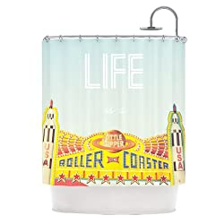 Kess InHouse Libertad Leal Life is a Rollercoaster Shower Curtain, 69 by 70-Inch