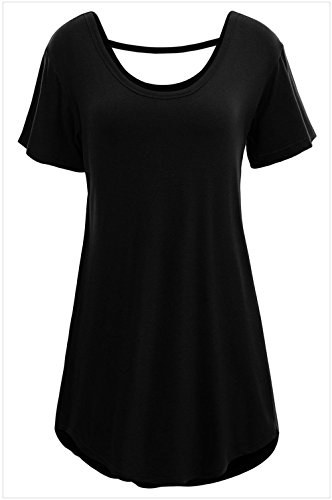 YFFaye Women's Comfy Short Sleeve Basic Long T-shirt Black XL (College Girl Halloween Pics)