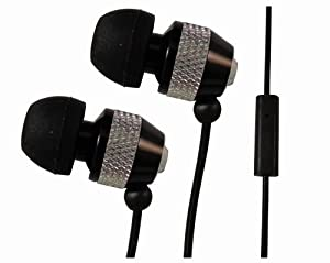 Black & Silver Metal Noise Isolating Handsfree Earphones with Mic for Amazon Kindle Fire HD by 247Clix