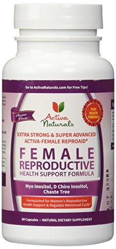 Activa Naturals Female Reproductive System Health Supplement with Chiro Inositol, Myo Inositol & Chaste Tree Herbs - 60 Veg. Caps