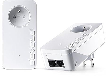devolo 9298 dLAN 550 Duo+ Prise Réseau CPL 550 Mb/s avec prise gigogne 2 Ports Fast Ethernet Prise Filtrée Intégrée  - Kit de Démarrage (x2)