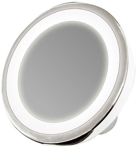 Rucci Water Resistant Led Lighted Suction Mirror, 10X