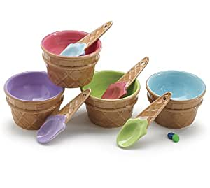 Set Of 4 Colorful Ice Cream Bowls/Dishes With Spoons