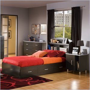 Cheap South Shore Cosmos Kids Twin Wood Bookcase Bed 3 Pc Bedroom Set in Black Onyx/Charcoal (3127080-3PKG)