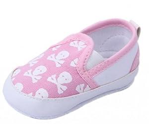 V-SOL Rosa Cráneo 11CM Zapatos Lienzo Primeros Pasos De Bebé Para Niños Y Niñas