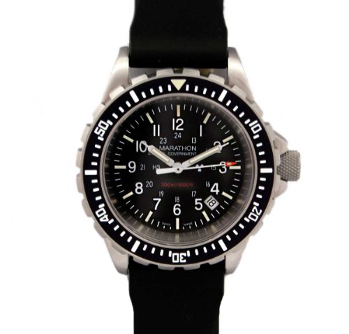MARATHON WW194007 Men's Diver's Quartz Black Dial Watch with Tritium