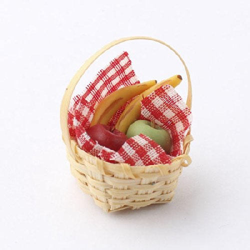 Set of 4 Miniature Tiny Wicker Picnic Baskets with Supplies for Embellishing Fairy Gardens, Crafts and Displays