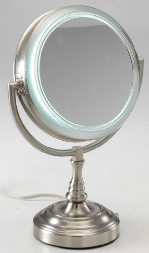 Rialto Natural Daylight Lighted 10X to 1X Vanity Mirror in Satin Nickel
