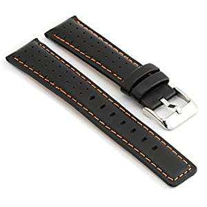 StrapsCo Perforated Black with Orange Stitching Leather Rally Watch Band size 20mm