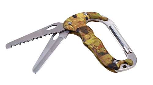 Ablest Carabiner Keychain Clip Survival Tool Includes Knife Saw