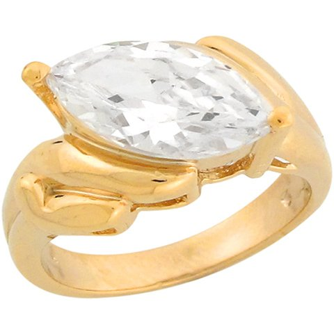 9ct Yellow Gold 4.38ct CZ Marquis Solitaire Unique Engagement Ring