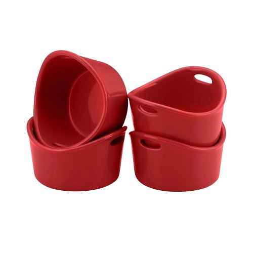 Rachael Ray Bubble And Brown Singles Stoneware Ramekins, 10-Ounce, Red, Set Of 4
