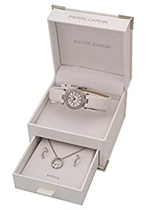Pierre Cardin Ladies White Leather Strap Stainless Steel Designer Watch & Crystal Pendant Necklace & Jewellery Gift Set PCX5855202