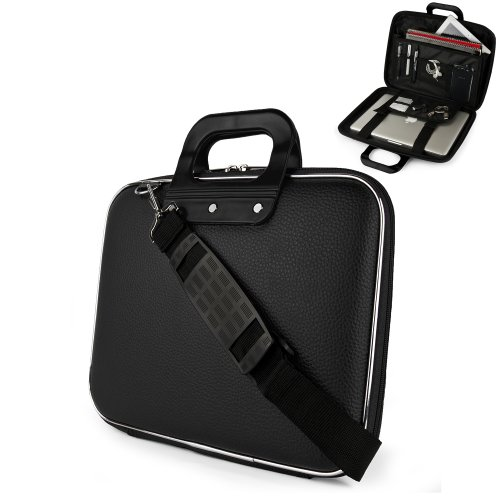 Black Cady Cube Ultra Durable 13 inch Tactical Hard Messenger bag for your ASUS VivoBook 14.1 Inch UltraBook with Extra Features: Reinforced durable constructions, Extra dividers and mesh pockets for other Tablets, eReaders, pens, papers, and other school supplies, and Secure Velcro Straps