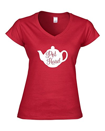 Pot-Head-Ladies-V-Neck-T-Shirt-S-XXL-Tea-Drinker-Teapot-Lover-FREE-SHIPPING