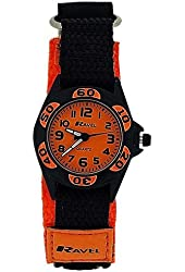 Ravel Analogue Boys Black & Orange Fabric Velcro Strap Watch R1507.26