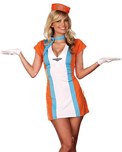 Sexy Stewardess Costume Dress Flight Attendant 70s Womens Theatrical Costume Sizes: Large (60s Flight Attendant Costume)