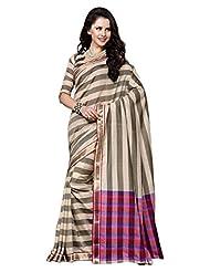 AASRI Women Festival Wear Cotton Blend Printed Zari Border Multicolour Saree - B00O8XW4D6