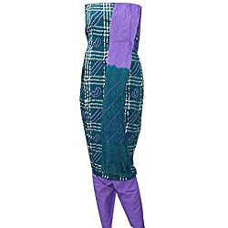 APKAMART Women Cotton Tie and Dye or Rajasthani Bandhej Dark Green and Purple - Unstitched Dress Material - 2.2 Meters