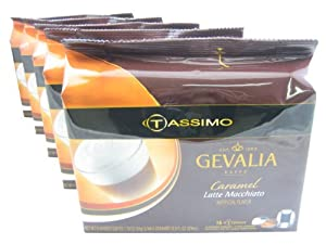 Gevalia Caramel Latte Macchiato T-Disc Pods for the Tassimo Hot Beverage System (Case of 5 packages; 80 T-Discs Total)