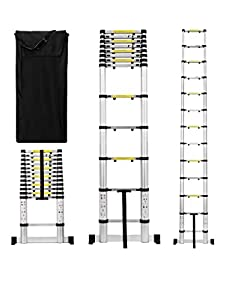 Useful. UH-TL189 12.5ft Aluminum Telescoping Extension Ladder with Finger Save Stoppers, Safety Stabilizing Cross Piece + Free Carry Bag