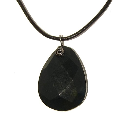 Bloodstone Necklace 03 Pendant Faceted Green Red Black Leather Crystal Healing Gemstone Stone 20