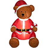 Airblown Medium Teddy Bear Inflatable Lawn Christmas Decoration 5' (Color: Multi, Tamaño: one size)