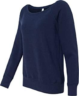 Bella Mia Triblend Sponge Fleece Slouchy Wideneck Sweatshirt 7501 L Navy Heather