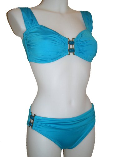 Anne Cole Two Piece Bikini Swimsuit, Bandeau W/bra Straps, Turquoise