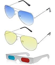 Hrinkar Aviator Blue Lens Silver Frame, Aviator Yellow Lens Silver Frame & Paper 3D Glass - HCMB063