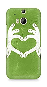 Amez designer printed 3d premium high quality back case cover for HTC One M8 (Love Green)