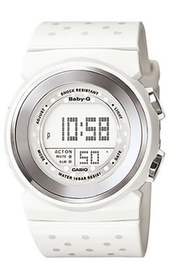 Casio Baby G BGD105-7D Ladies White Dial White Resin Strap Watch