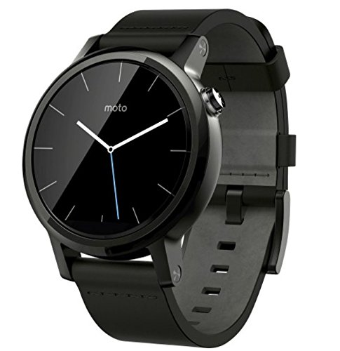 Motorola Moto 360 (2nd Gen.) - Mens 42mm, Black with Black Leather Band