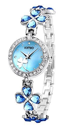 FLORAY Moda Bracciale per Donna, Bella Orologi da polso, Fiore di trifoglio fortunato di cristalli blu.