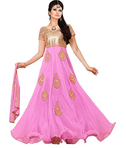 Clickedia Women's Faux Georgette Anarkali Salwar Suit Dress Material (Pink God_Free Size)  available at amazon for Rs.649