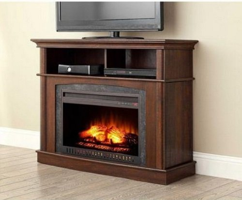 Electric Fireplace Media Play Center with Side Storage Compartments