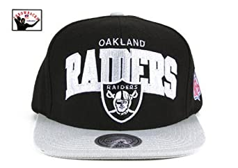 Oakland Radiers Black Silver Two Tone Plastic Snapback Adjustable Plastic Snap Back... by Mitchell & Ness