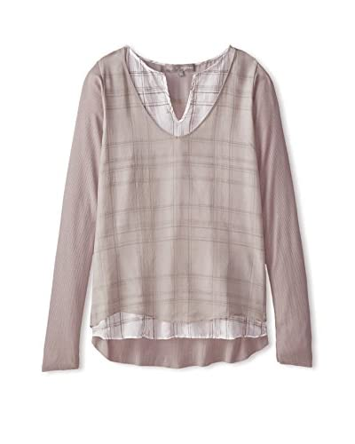 Lola & Sophie Women's Plaid Top with Overlay