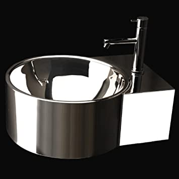 "Lacava Wall-mounted washbasin in polished stainless steel with overflow and one faucet hole, 19 3/4""W x 21 1/4""D x 7 1/4""H Po"