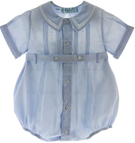 Baby Boys Blue Dressy Bubble Outfit With Pintucks Feltman Brothers (9M) front-388240