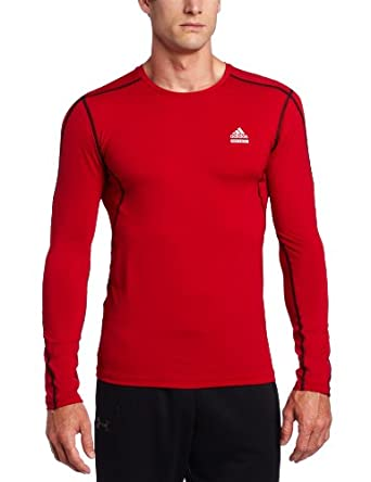 adidas Men's Techfit Fitted Long-Sleeve Top (University Red, Medium)